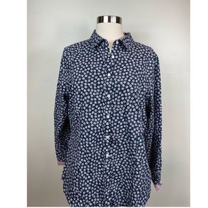 Brooks Brothers Button front Blouse Floral Blue 12